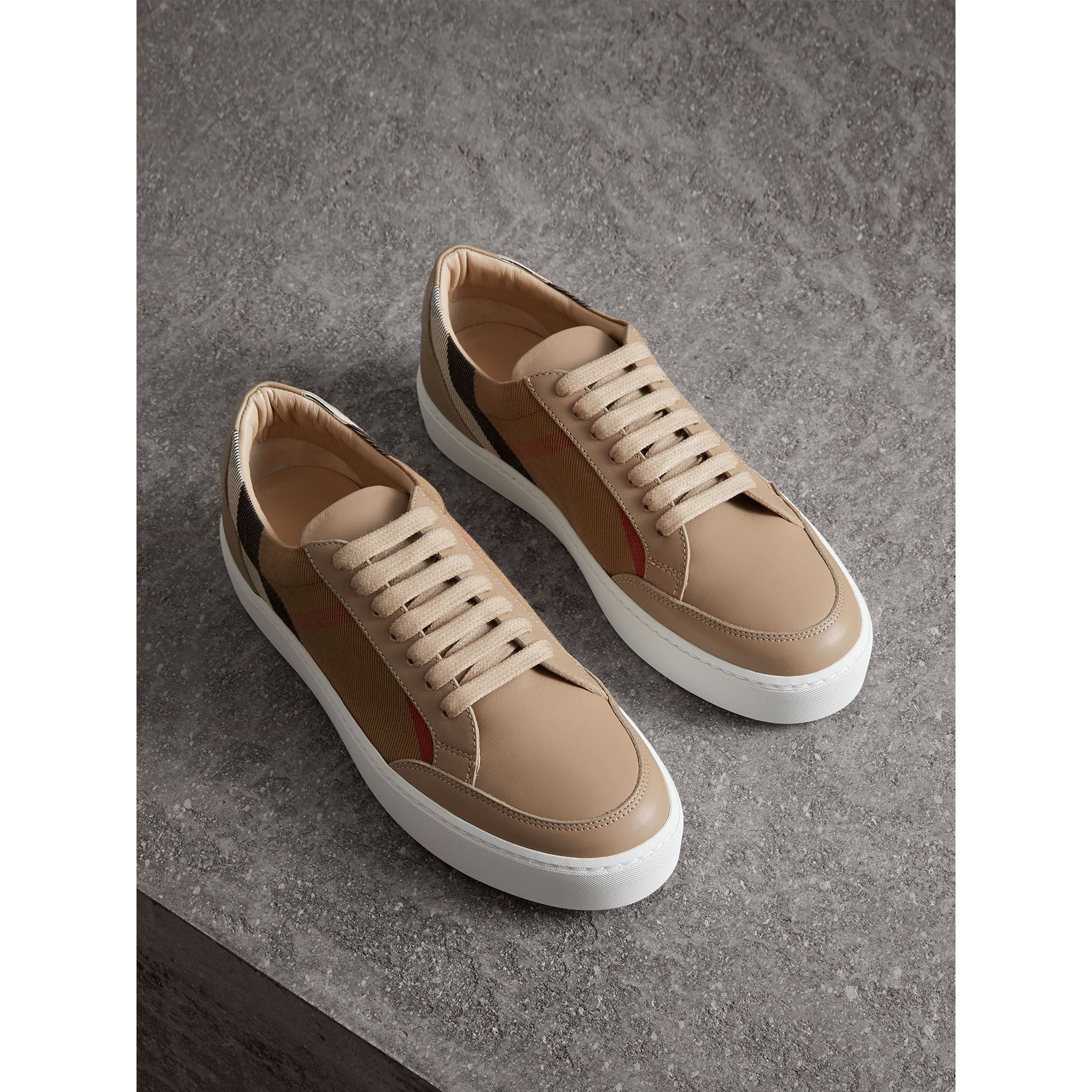 Check Detail Leather Sneakers in House Check/ Nude - Women | Burberry - gallery image 0