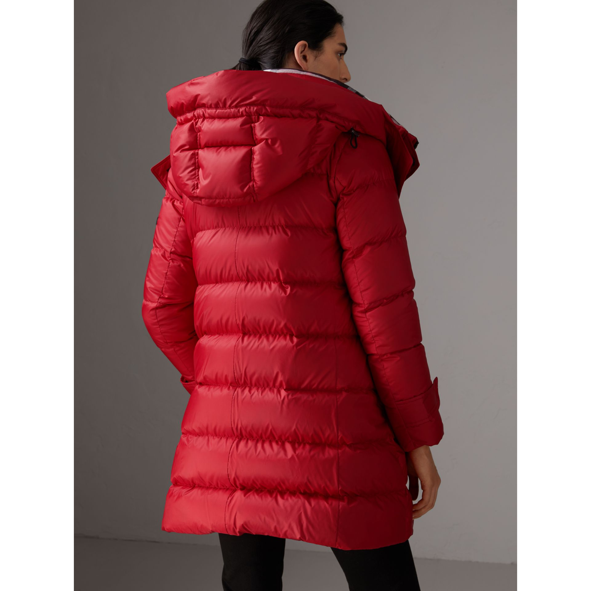 Down-filled Puffer Coat With Detachable Hood in Parade Red - Women | Burberry United Kingdom - gallery image 3