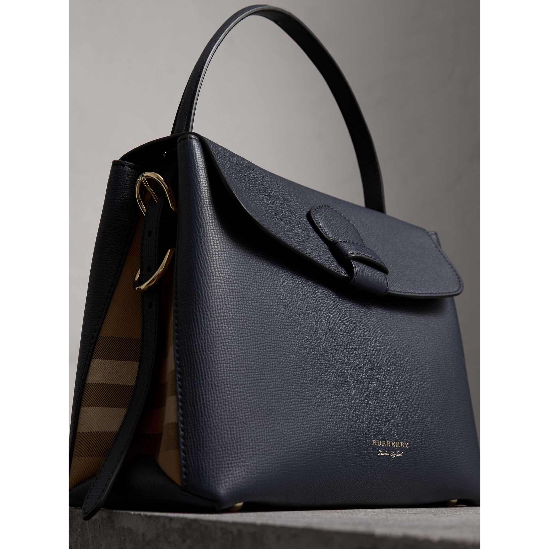 Medium Grainy Leather and House Check Tote Bag in Ink Blue - Women | Burberry - gallery image 6