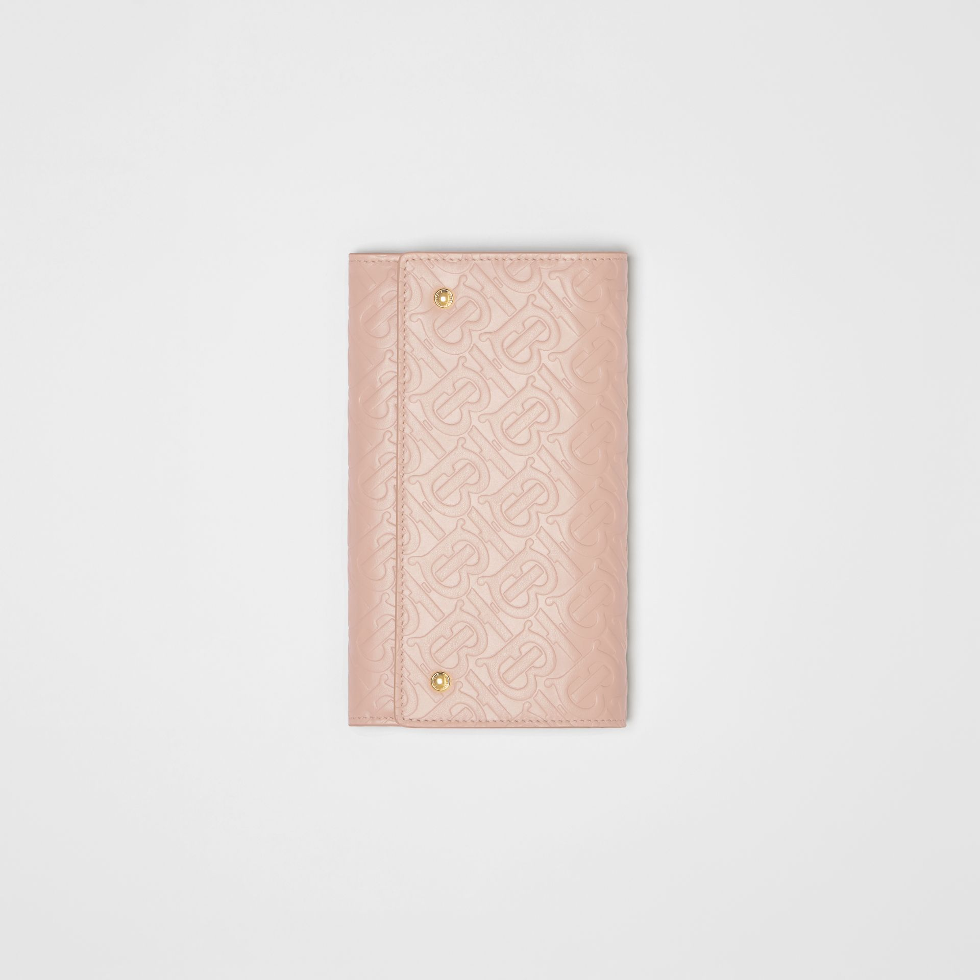 Monogram Leather Wallet with Detachable Strap in Rose Beige - Women | Burberry - gallery image 6