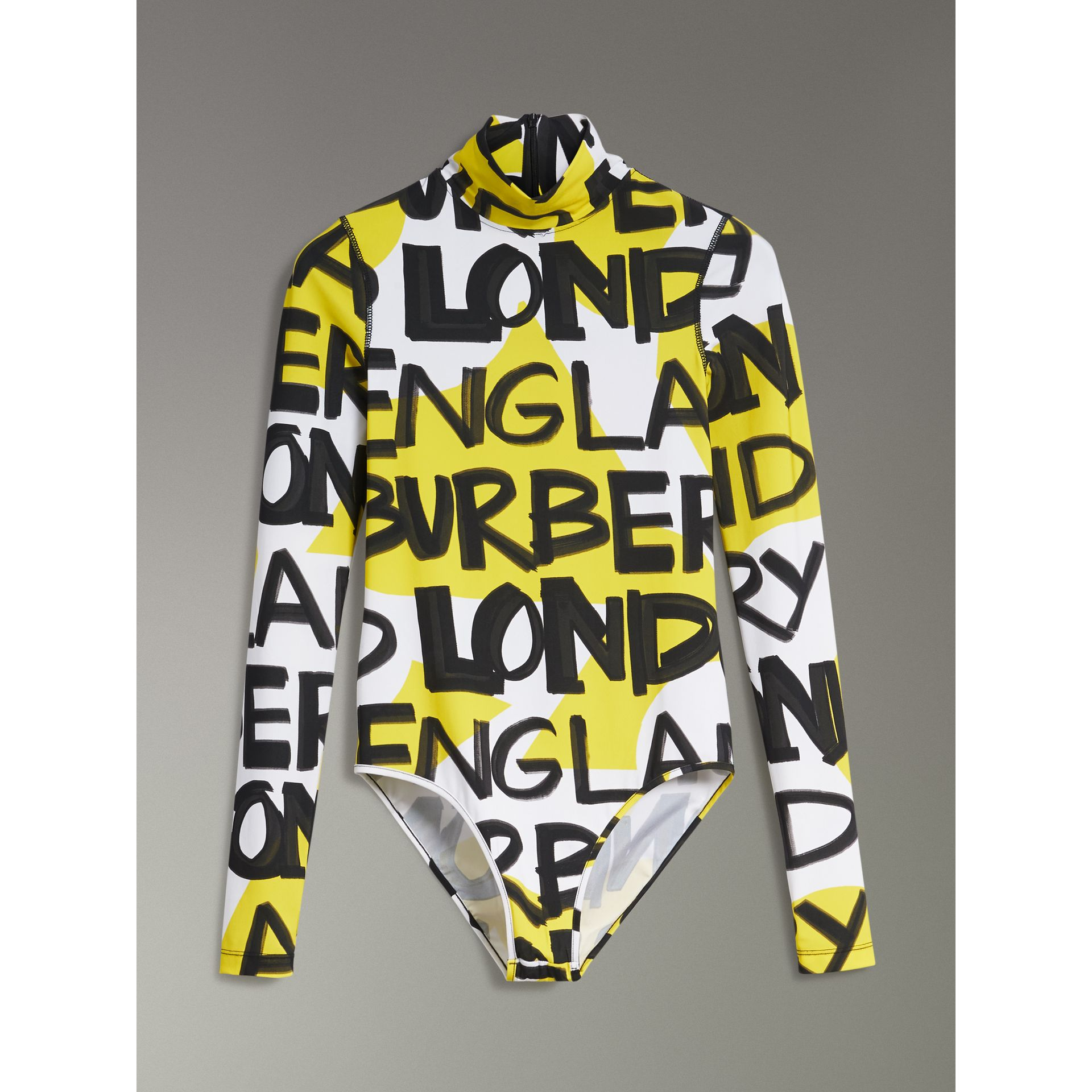 Graffiti Print Stretch Jersey Bodysuit in Bright Yellow - Women | Burberry - gallery image 3