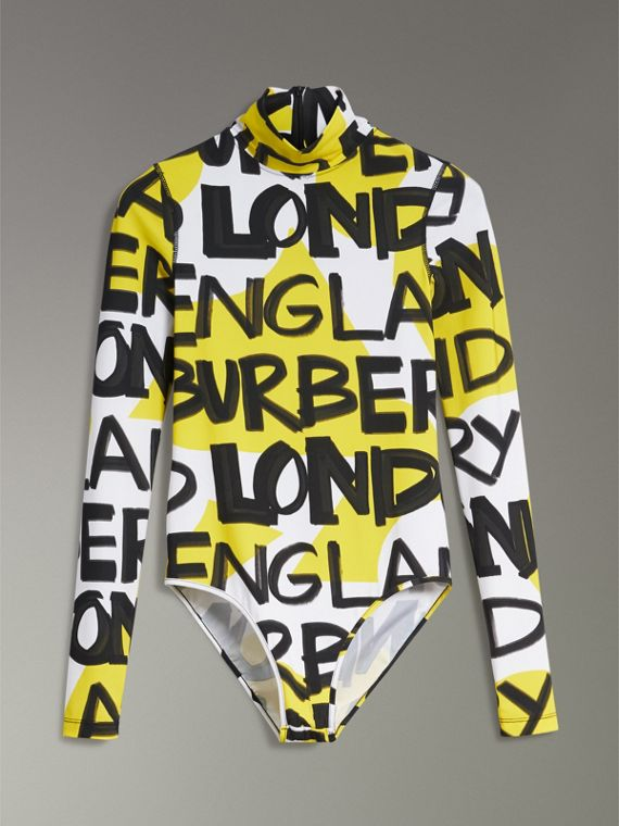 Graffiti Print Stretch Jersey Bodysuit in Bright Yellow - Women | Burberry Australia - cell image 3