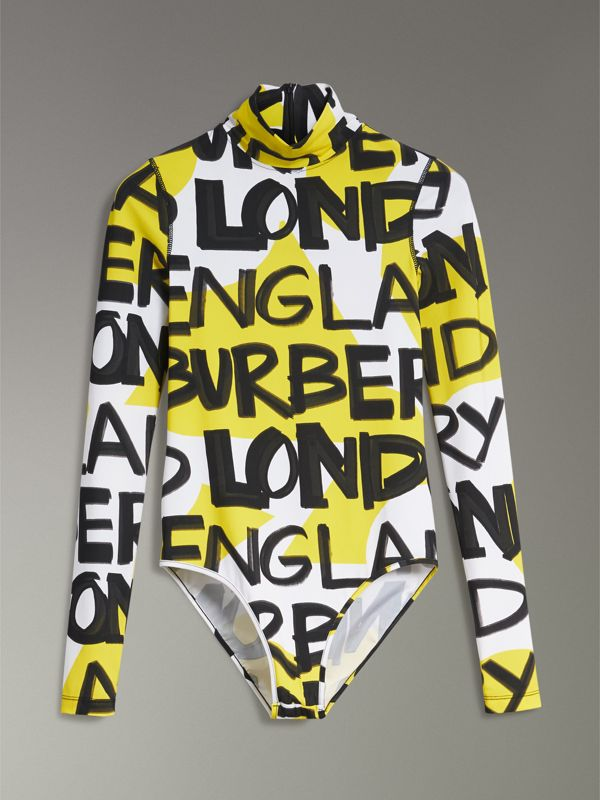 Graffiti Print Stretch Jersey Bodysuit in Bright Yellow - Women | Burberry Singapore - cell image 3