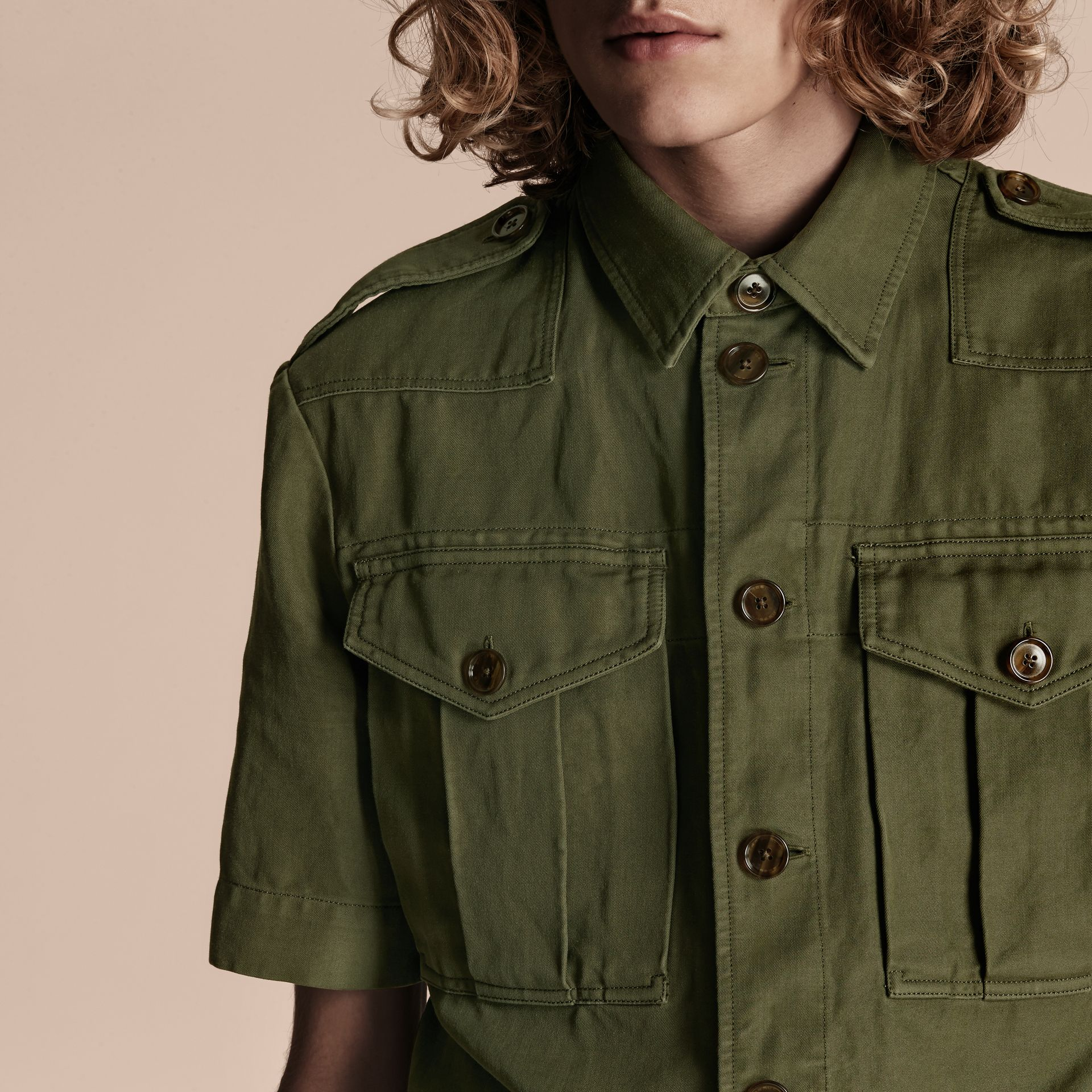 Military green Short-sleeved Ramie Cotton Military Shirt - gallery image 5