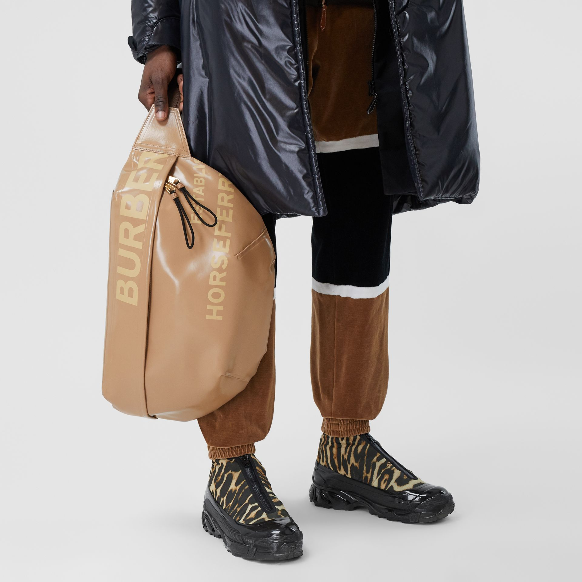 Extra Large Horseferry Print Coated Canvas Bag in Beige - Men | Burberry - gallery image 2