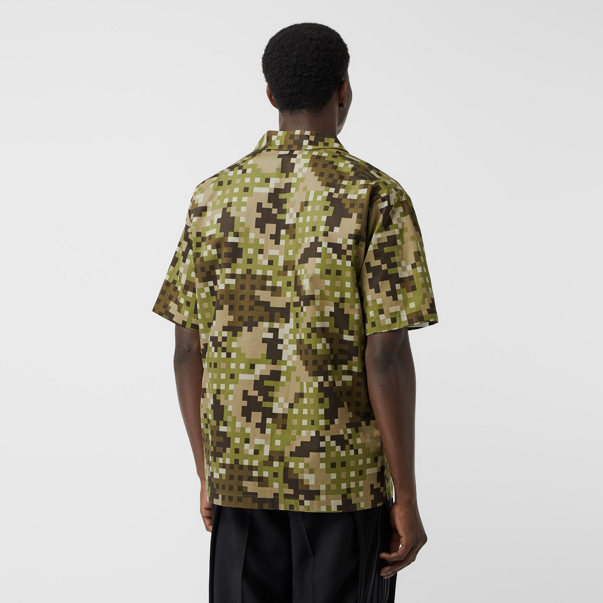Short-sleeve Montage Print Cotton Shirt in Khaki | Burberry Australia - gallery image 2