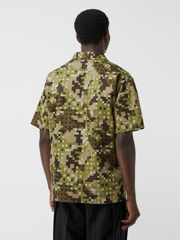 Short-sleeve Montage Print Cotton Shirt in Khaki | Burberry - cell image 2