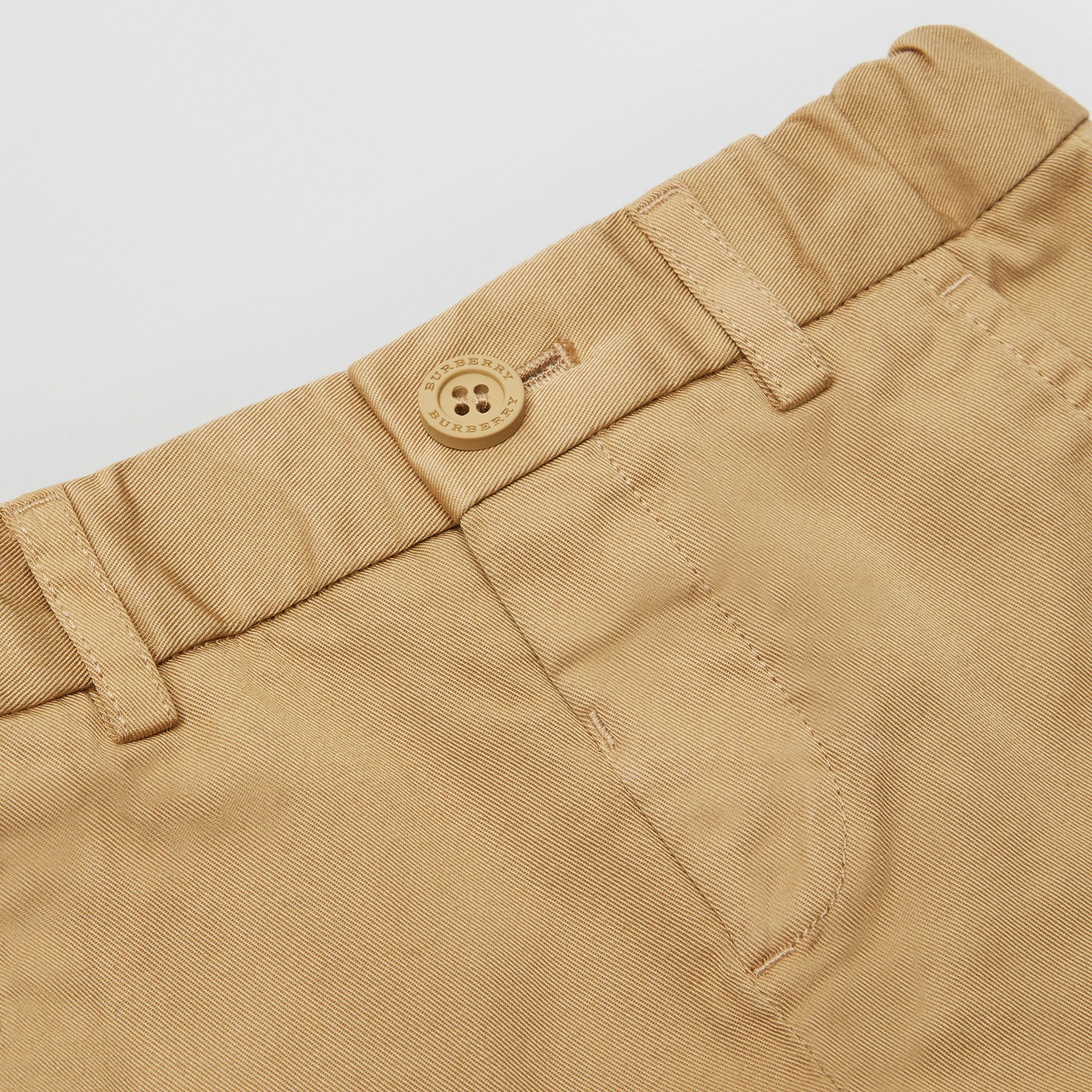Cotton Chino Shorts in Taupe - Children | Burberry - gallery image 1