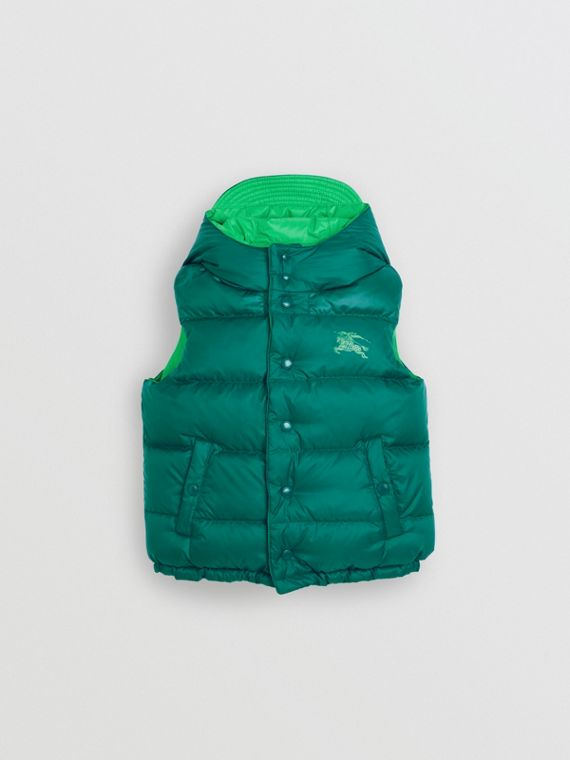 Reversible Showerproof Down-filled Hooded Gilet in Dark Cyan