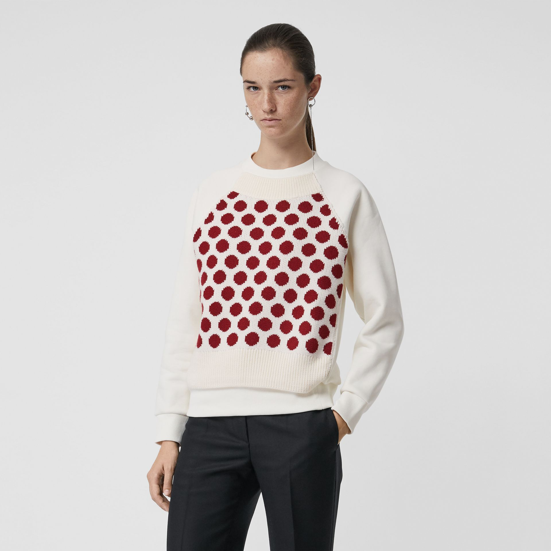 Spot Print Merino Wool and Jersey Sweater in White - Women | Burberry - gallery image 4