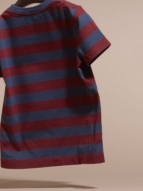 Burgundy red Striped Cotton T-Shirt Burgundy Red - cell image 3