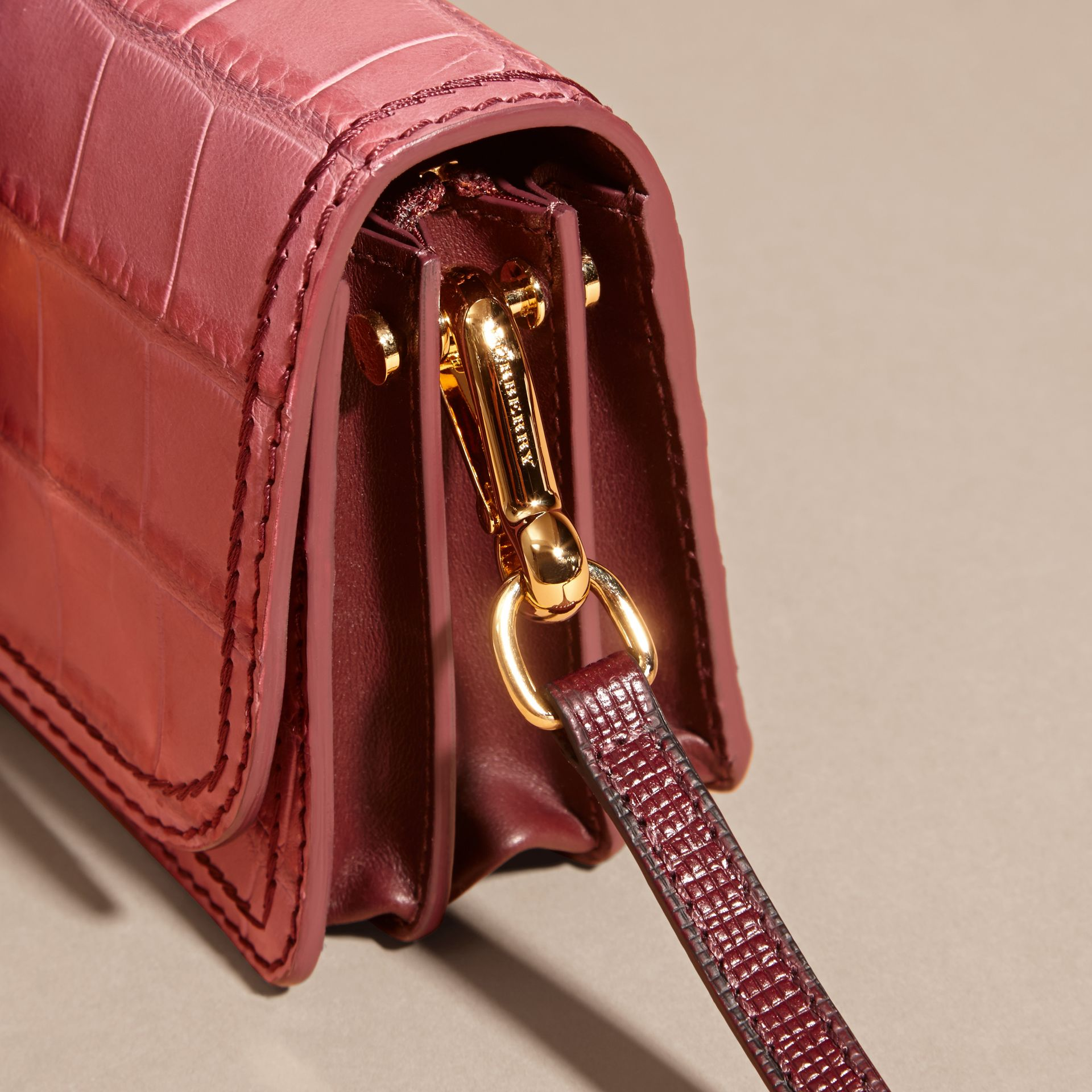 Dusky pink/ burgundy The Small Buckle Bag in Alligator and Leather Dusky Pink/ Burgundy - gallery image 2