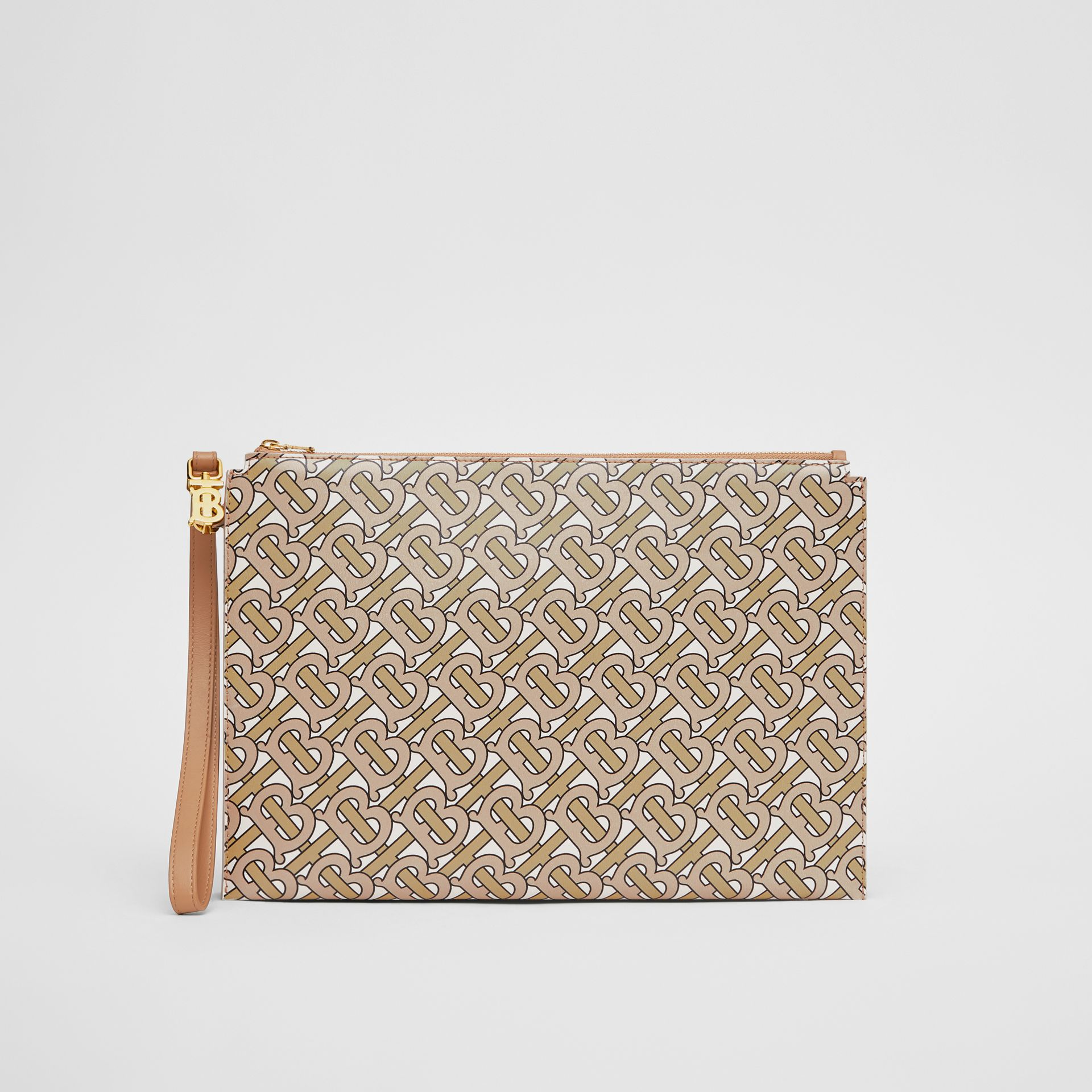 Monogram Print Leather Pouch in Beige - Women | Burberry - gallery image 0