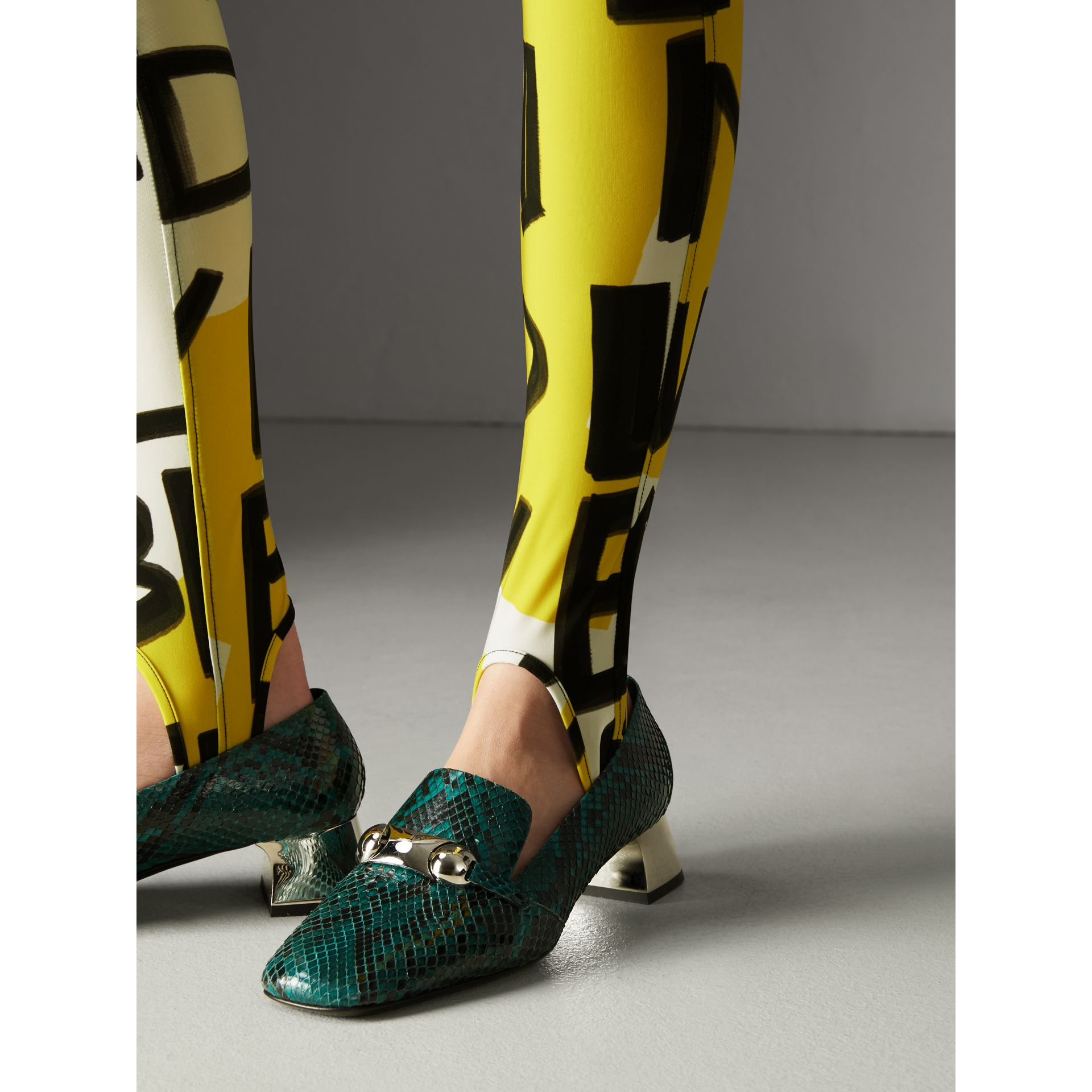 Graffiti Print Leggings in Bright Yellow - Women | Burberry - gallery image 1