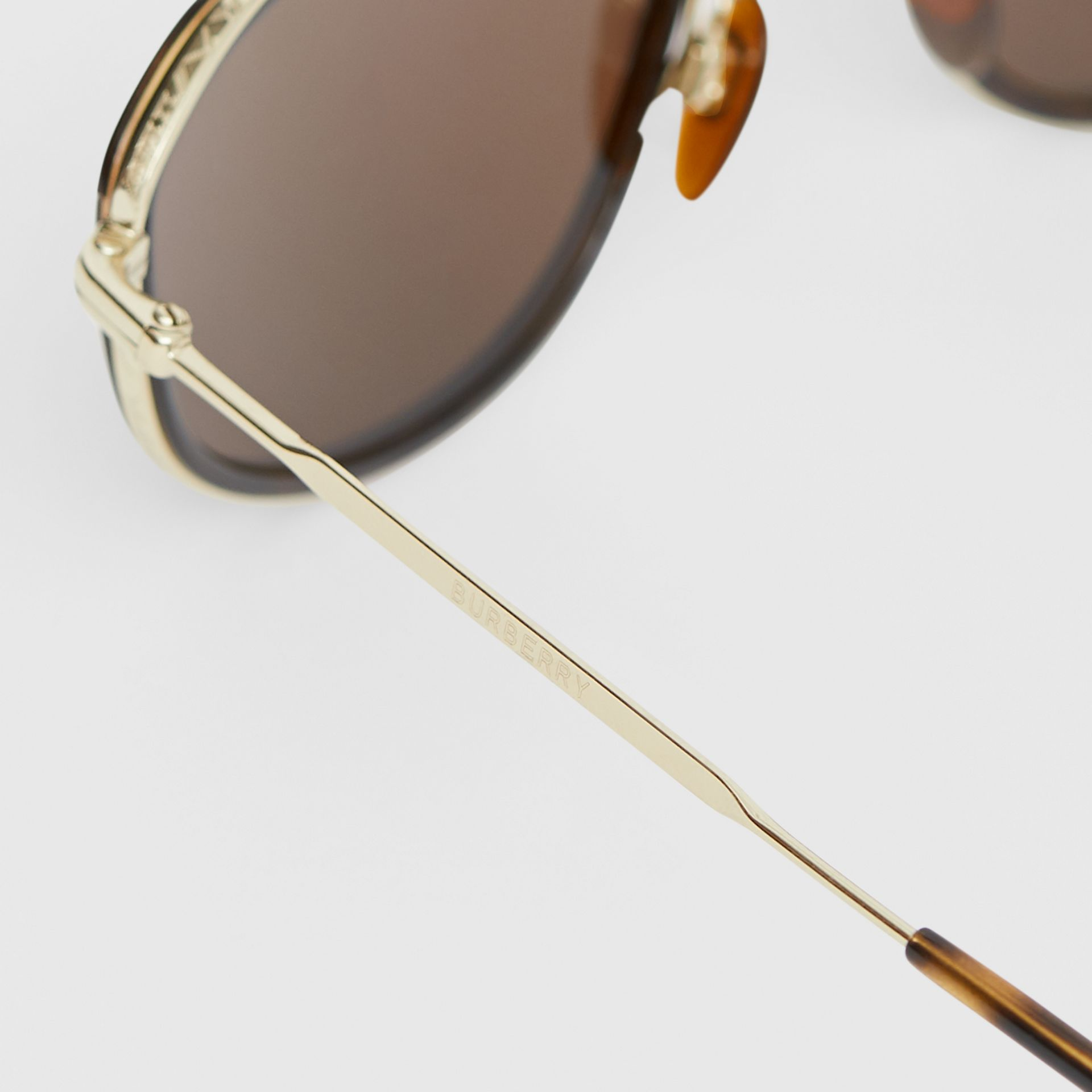 Gold-plated Geometric Navigator Sunglasses in Tortoiseshell - Men | Burberry - gallery image 1