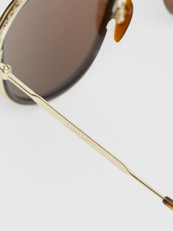 Gold-plated Geometric Navigator Sunglasses in Tortoise Shell - Men | Burberry - cell image 1