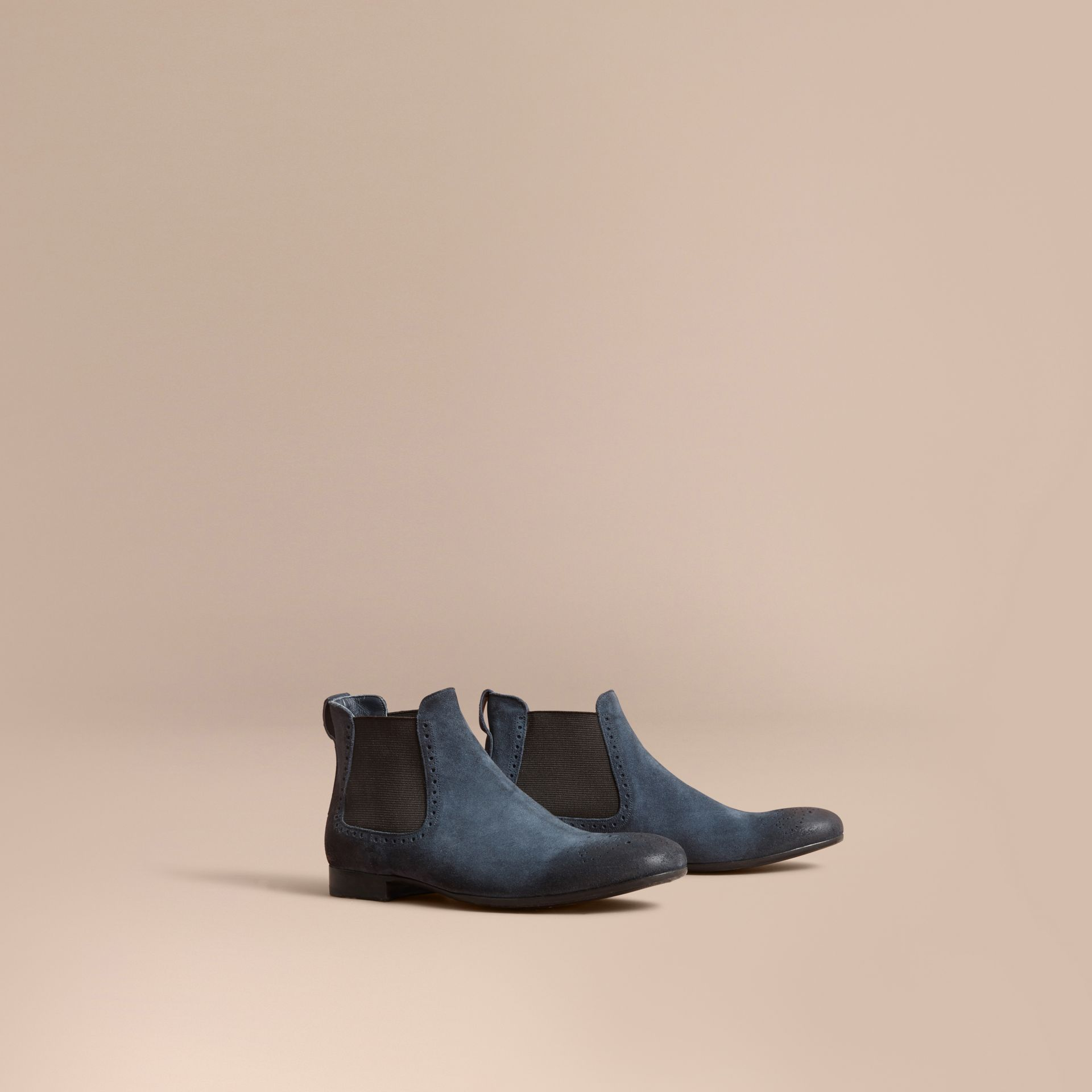 Perforated Detail Suede Chelsea Boots in Petrol Blue - Men | Burberry - gallery image 1