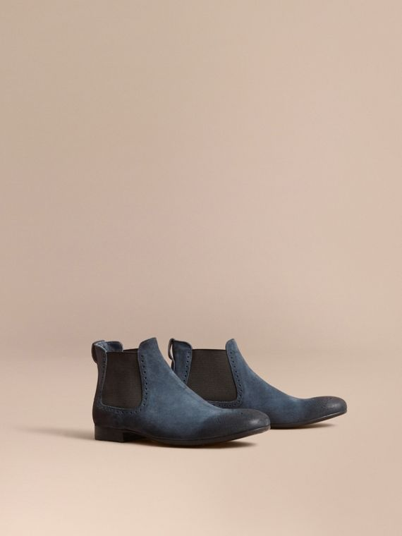 Perforated Detail Suede Chelsea Boots in Petrol Blue