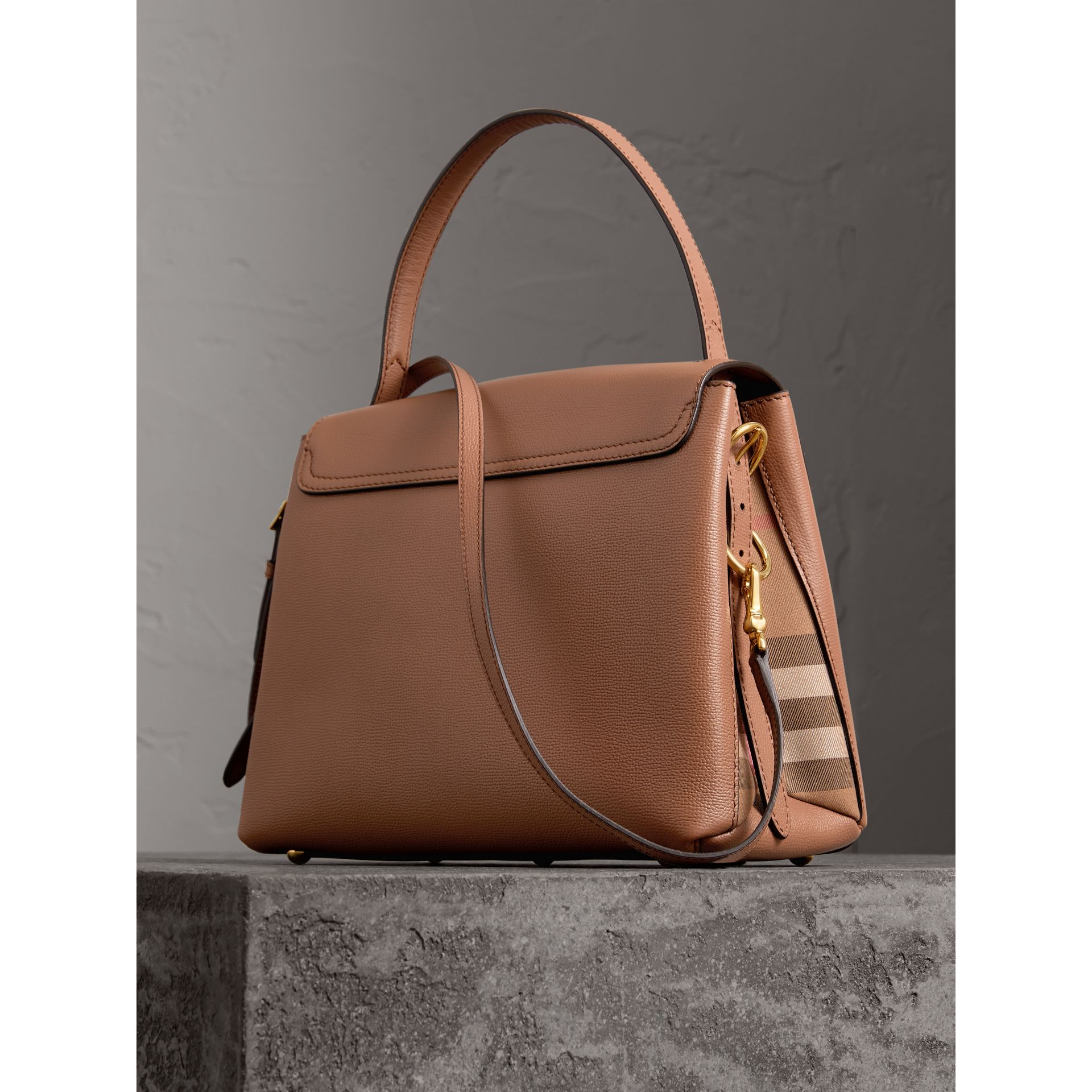 Medium Grainy Leather and House Check Tote Bag in Dark Sand - Women | Burberry - gallery image 4