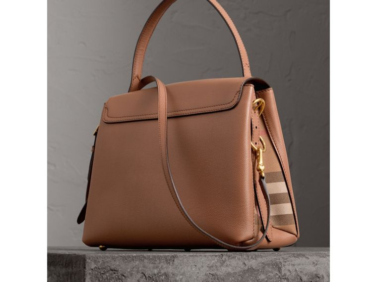 Medium Grainy Leather and House Check Tote Bag in Dark Sand - Women | Burberry - cell image 4