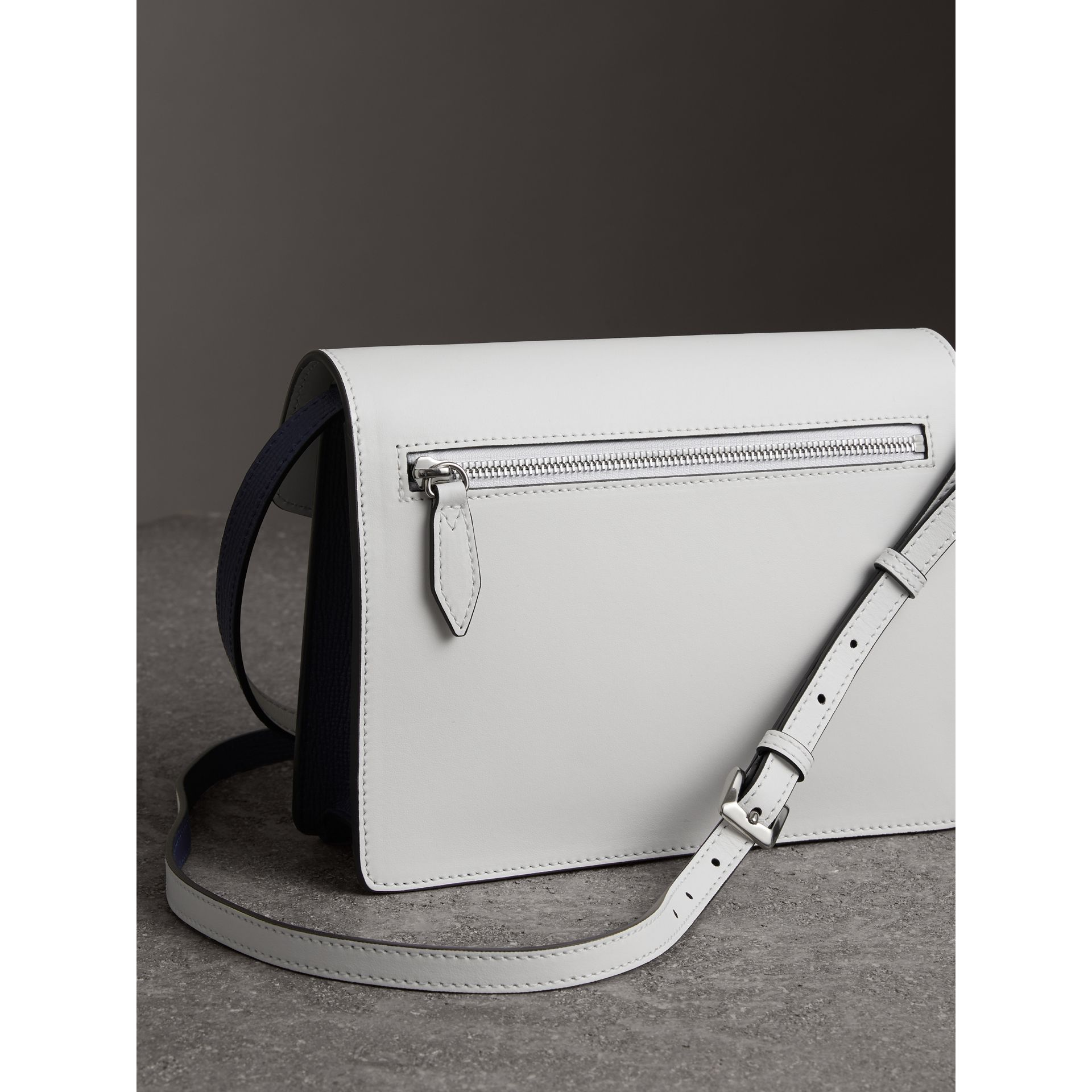 Two-tone Leather Crossbody Bag in Regency Blue/chalk White - Women | Burberry United Kingdom - gallery image 4
