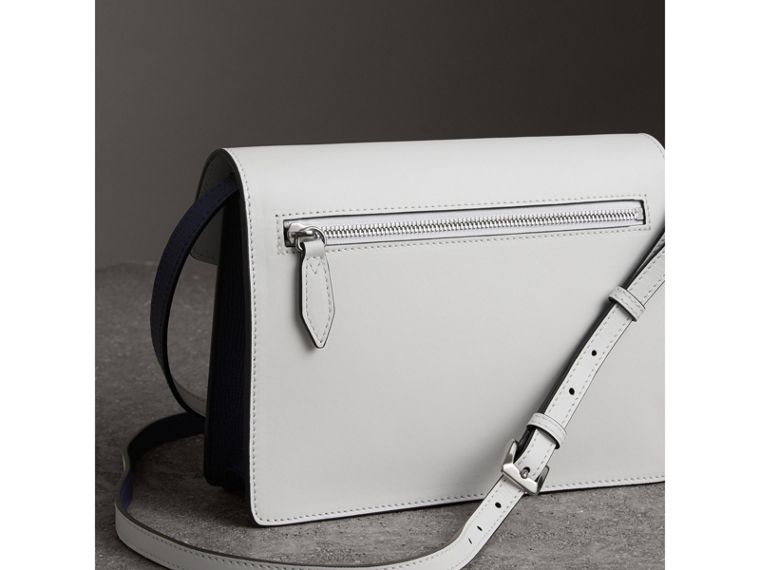 Two-tone Leather Crossbody Bag in Regency Blue/chalk White - Women | Burberry - cell image 4