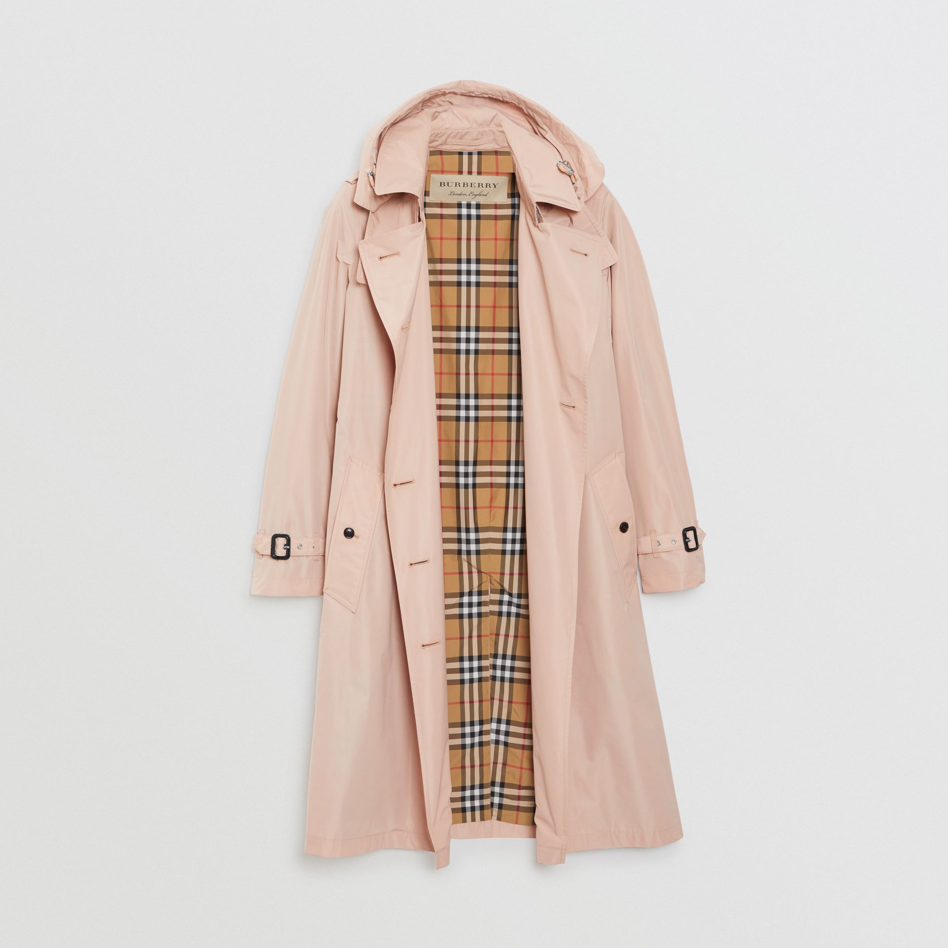 Detachable Hood Taffeta Trench Coat in Chalk Pink - Women | Burberry - gallery image 3