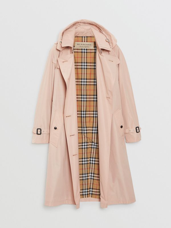 Detachable Hood Taffeta Trench Coat in Chalk Pink - Women | Burberry Australia - cell image 3