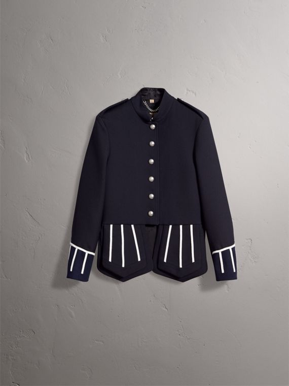 Cord Detail Wool Military Jacket in Navy - Women | Burberry - cell image 3