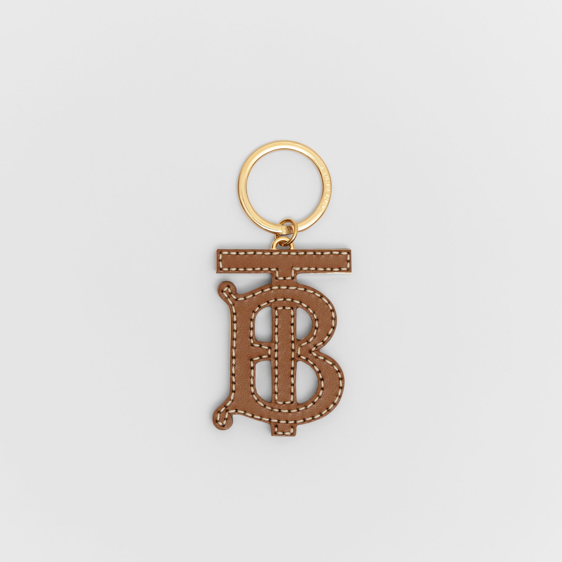 Monogram Motif Two-tone Leather Key Charm in Black/brown | Burberry United Kingdom - gallery image 0