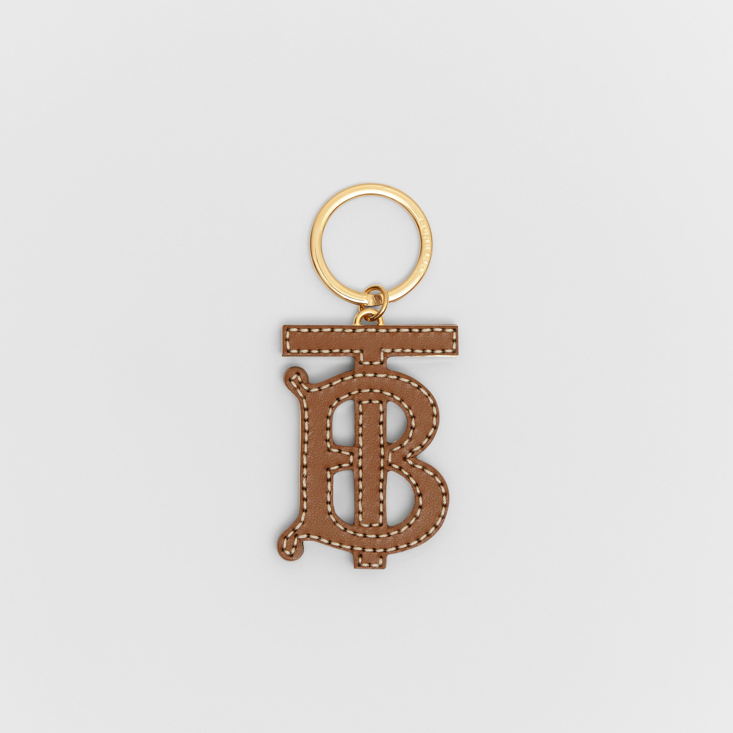 Monogram Motif Two-tone Leather Key Charm in Black/brown - Women | Burberry - 1
