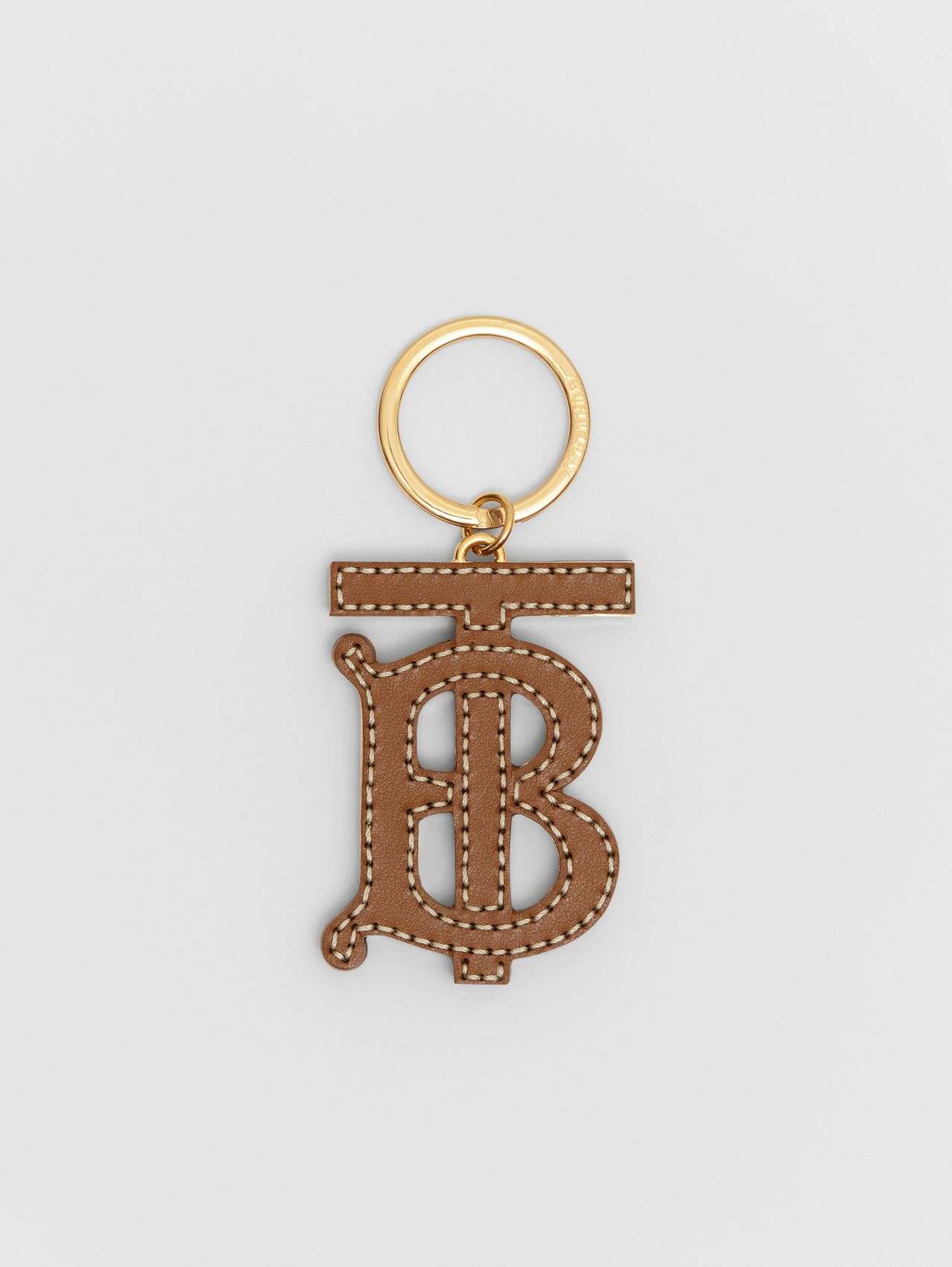 Monogram Motif Two-tone Leather Key Charm in Black/brown