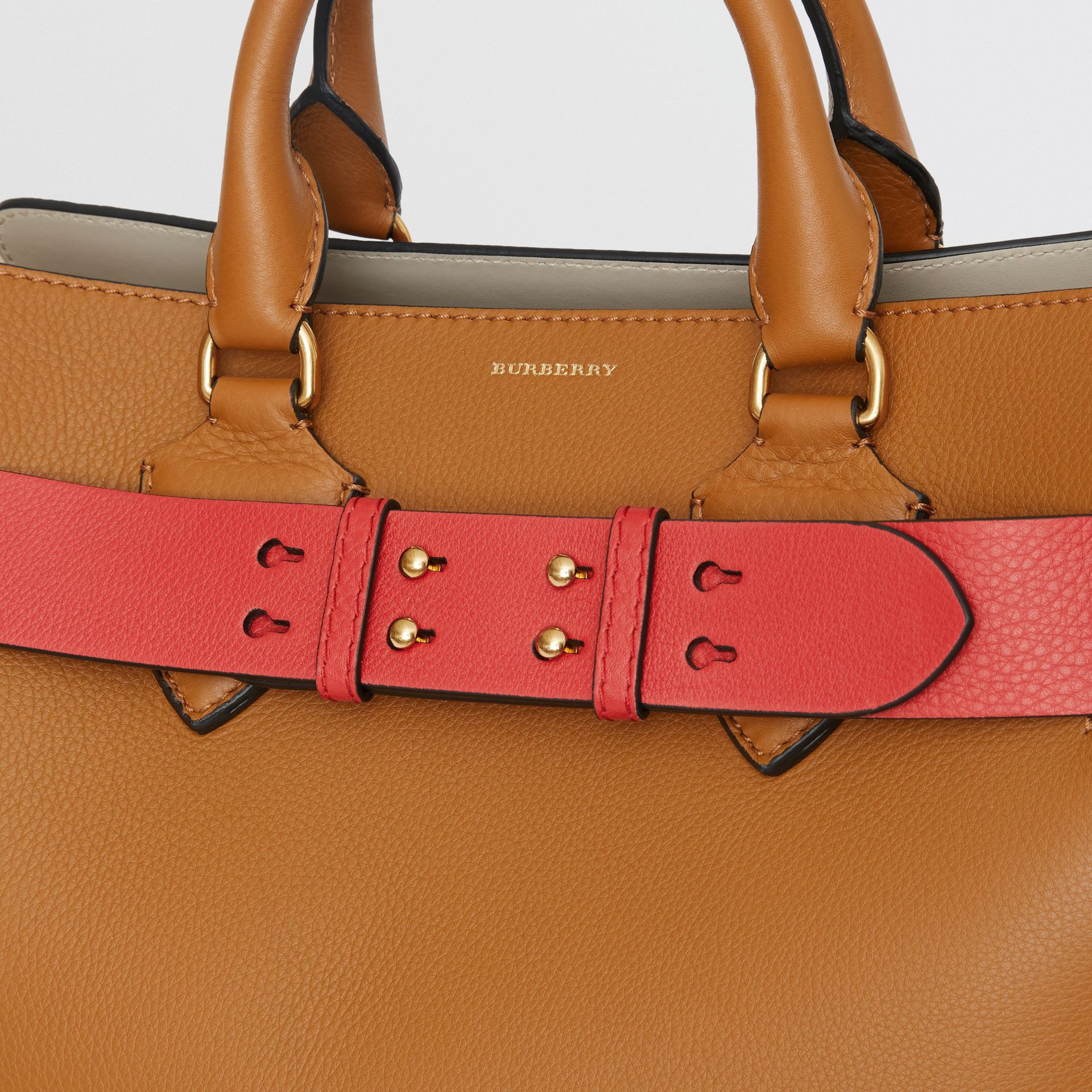 The Medium Belt Bag Grainy Leather Belt in Bright Crimson Pink - Women | Burberry - gallery image 1