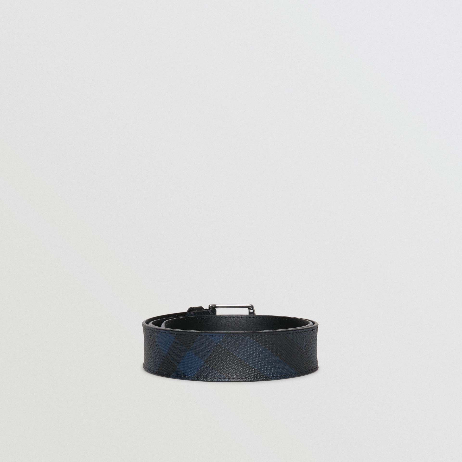 Leather Trim London Check Belt in Navy/black - Men | Burberry - gallery image 4