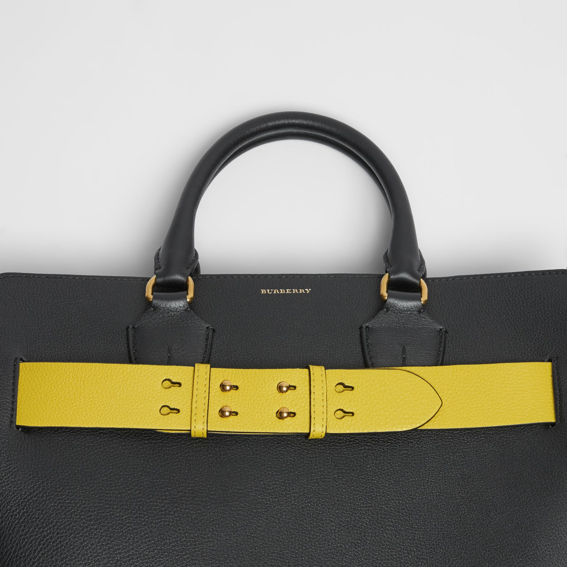 The Large Leather Belt Bag in Black/yellow | Burberry - gallery image 6