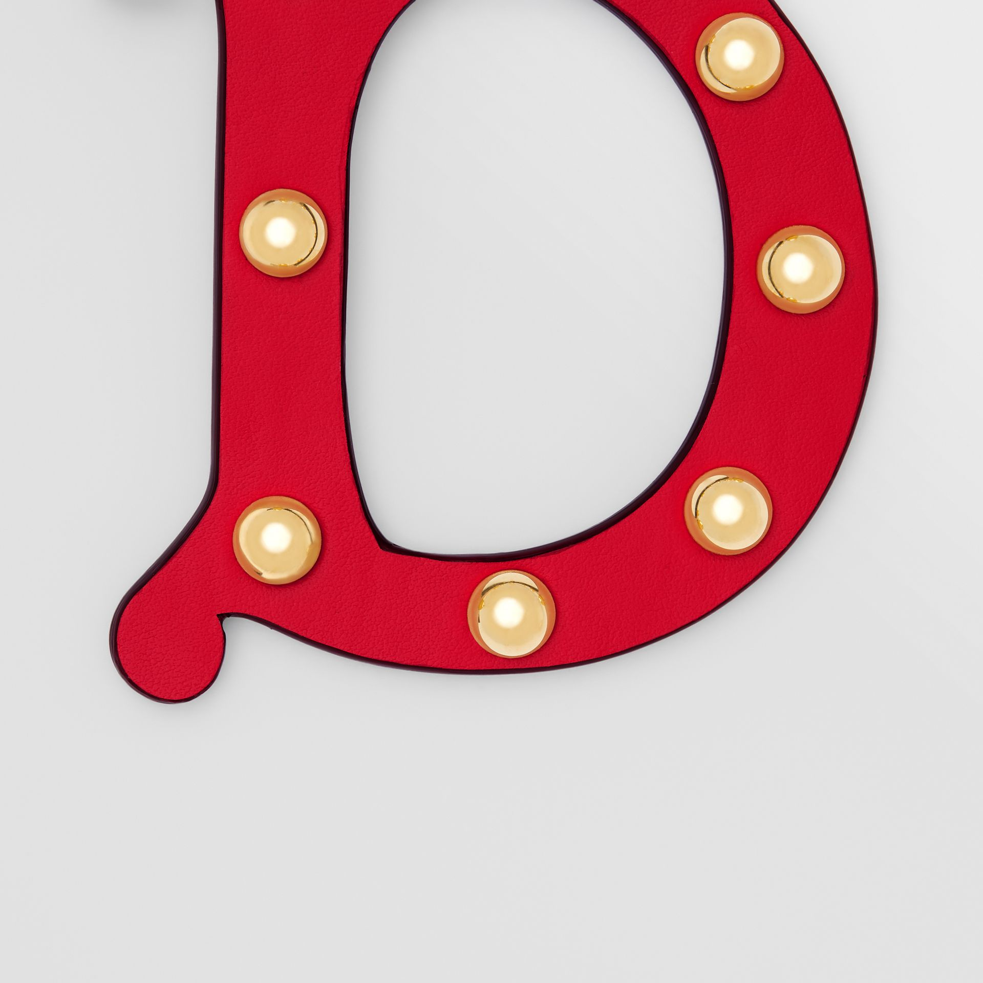 'D' Studded Leather Alphabet Charm in Red/light Gold - Women   Burberry - gallery image 1