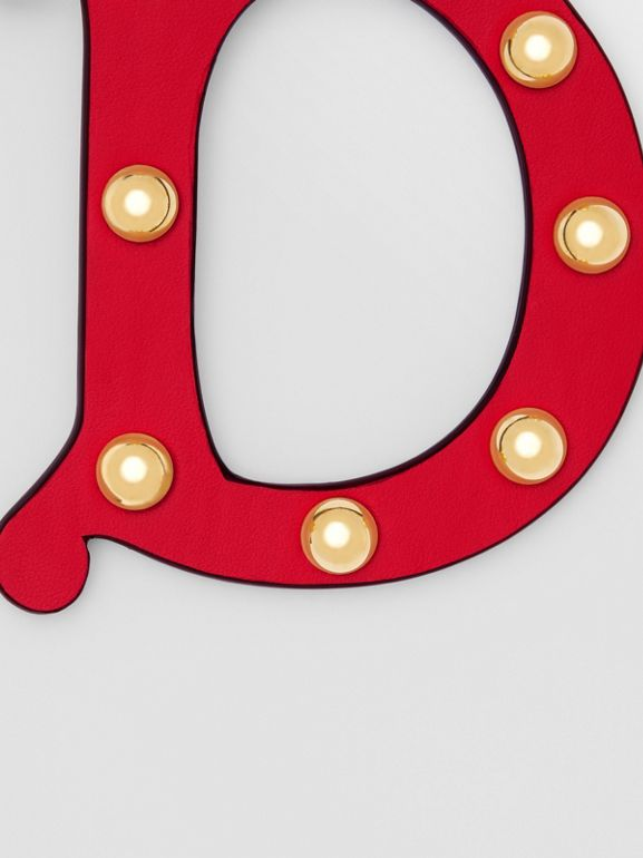 'D' Studded Leather Alphabet Charm in Red/light Gold - Women   Burberry - cell image 1