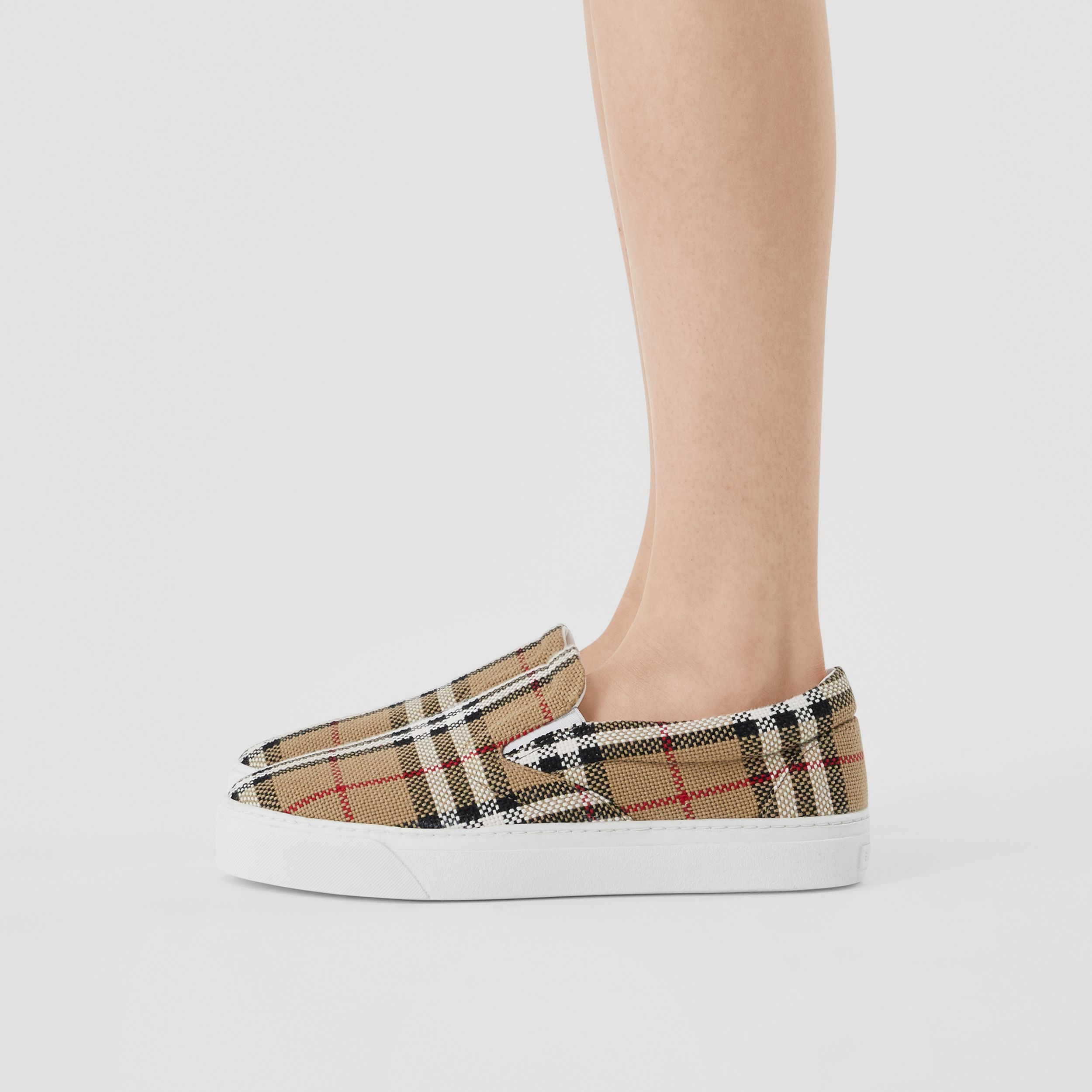 Bio-based Sole Latticed Cotton Slip-on Sneakers in Archive Beige - Women | Burberry - 3