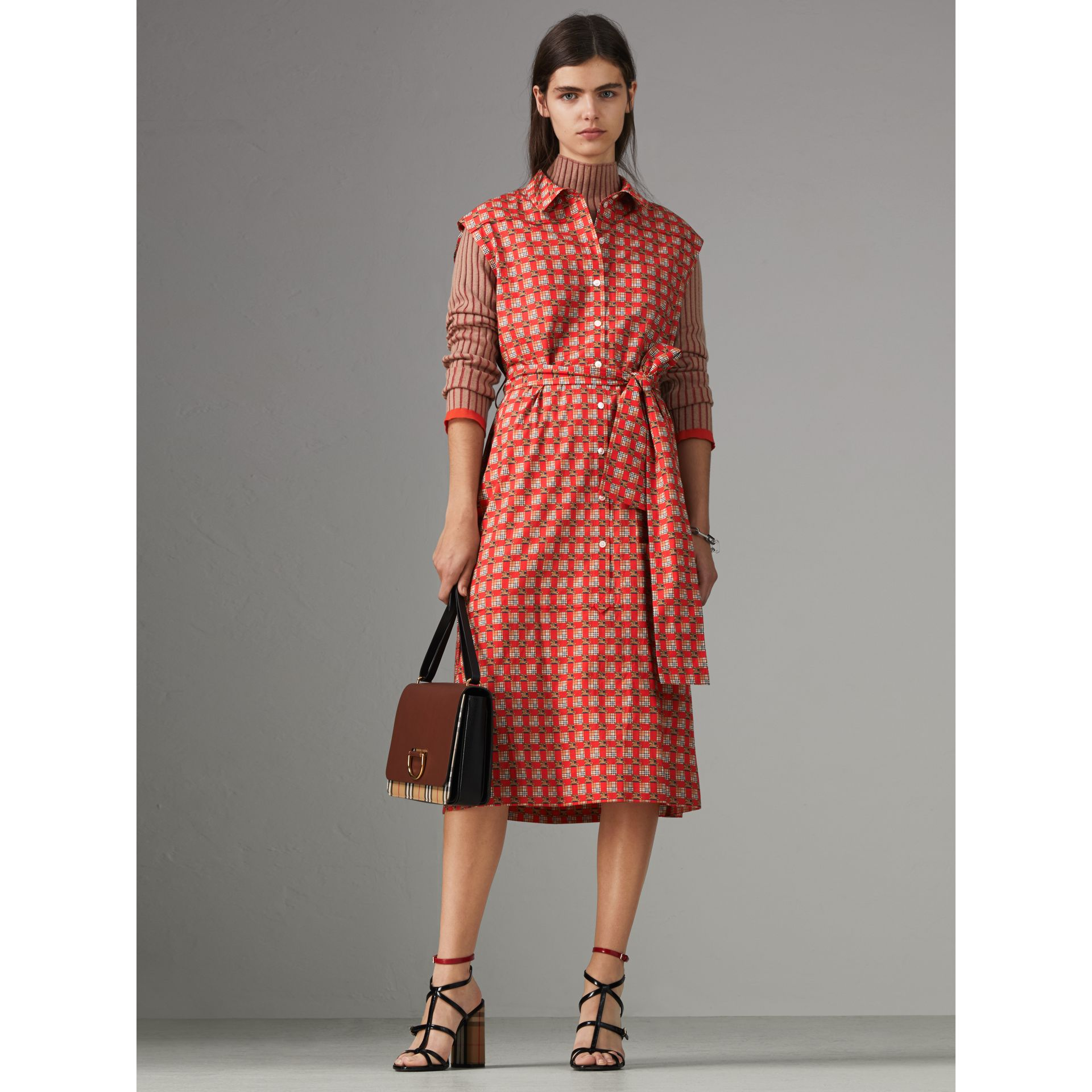 Tiled Archive Print Cotton Shirt Dress in Bright Red - Women | Burberry Australia - gallery image 4