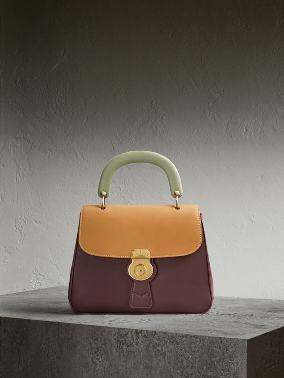 The Medium DK88 Top Handle Bag in Dark Chocolate/ochre Yellow