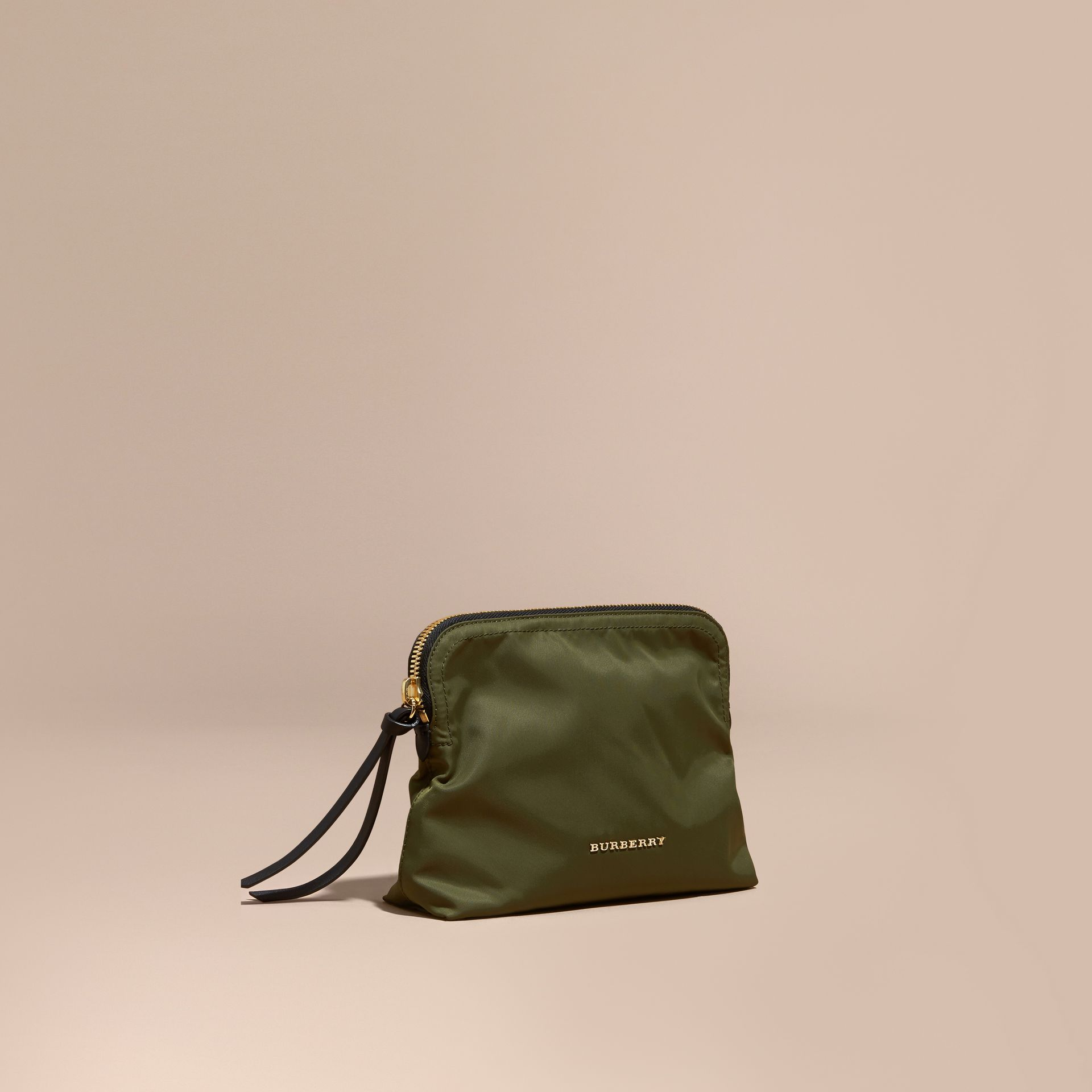 Large Zip-top Technical Nylon Pouch Canvas Green - gallery image 1