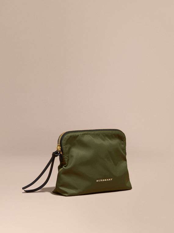 Large Zip-top Technical Nylon Pouch in Canvas Green - Women | Burberry