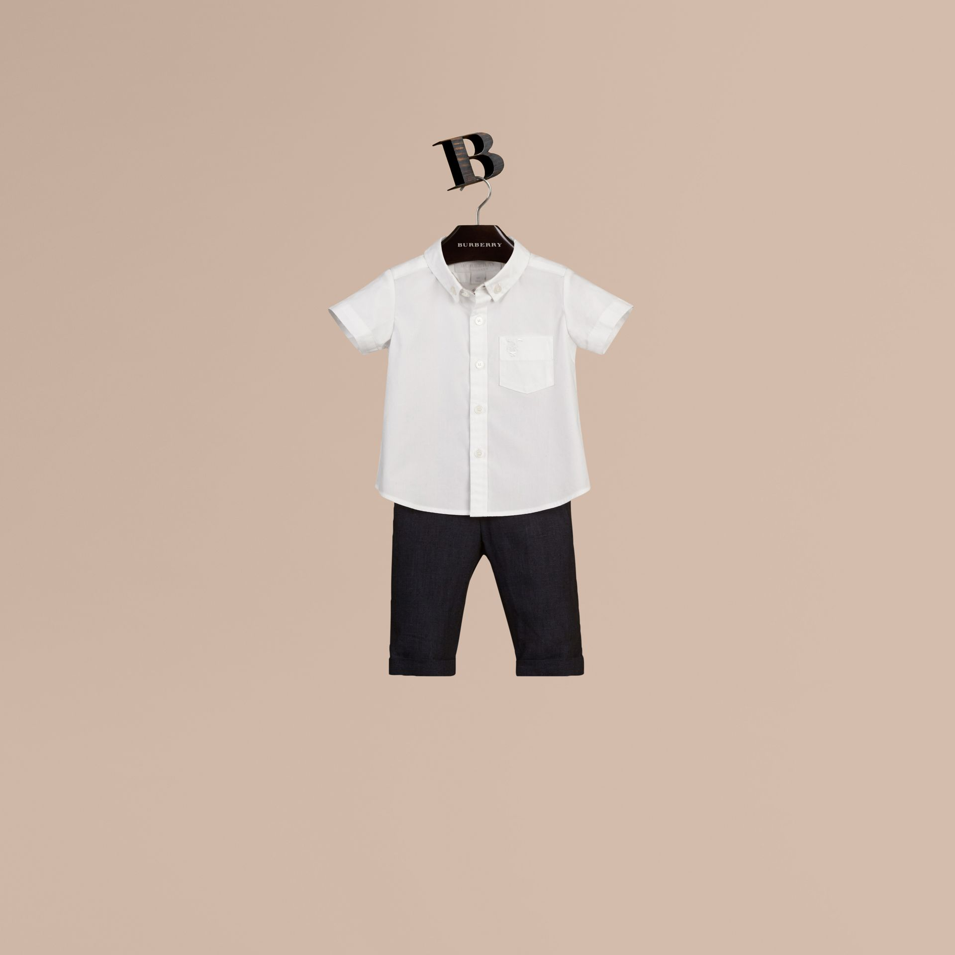 White Short-sleeved Stretch-cotton Oxford Shirt - gallery image 1