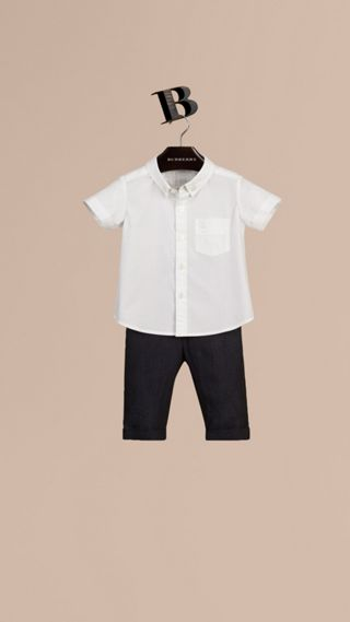 Short-sleeved Stretch-cotton Oxford Shirt