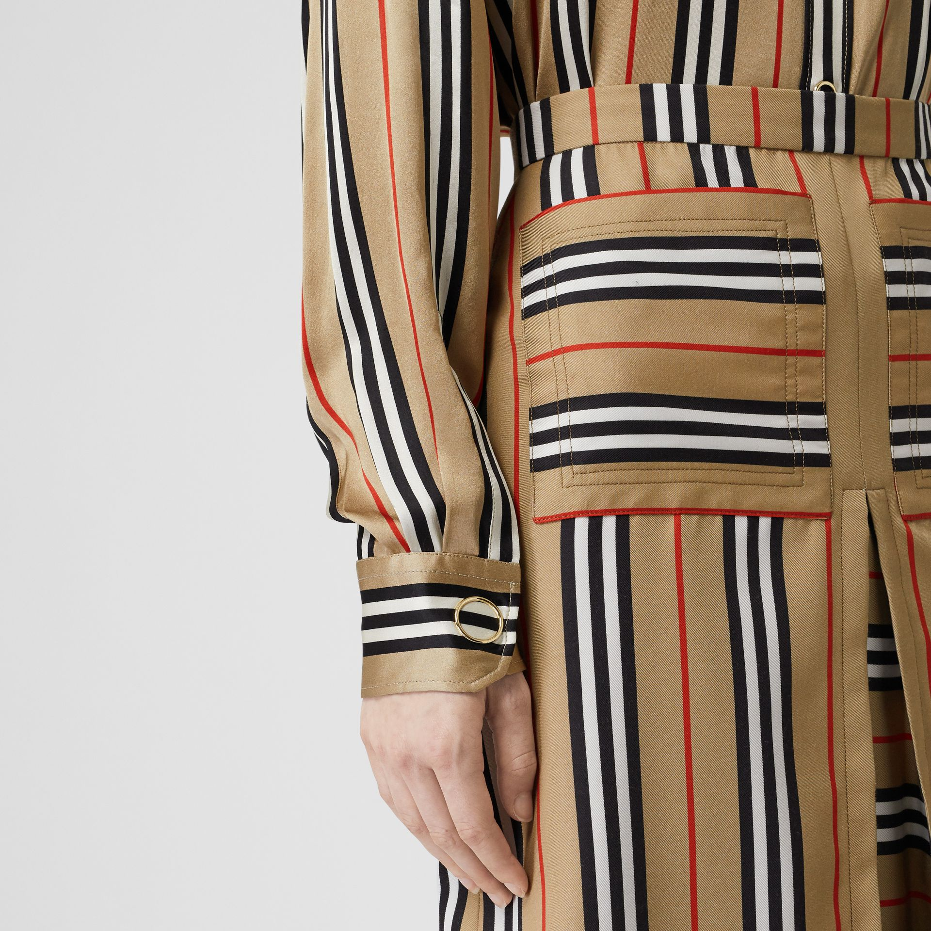 Icon Stripe Silk Shirt in Archive Beige - Women | Burberry - gallery image 4