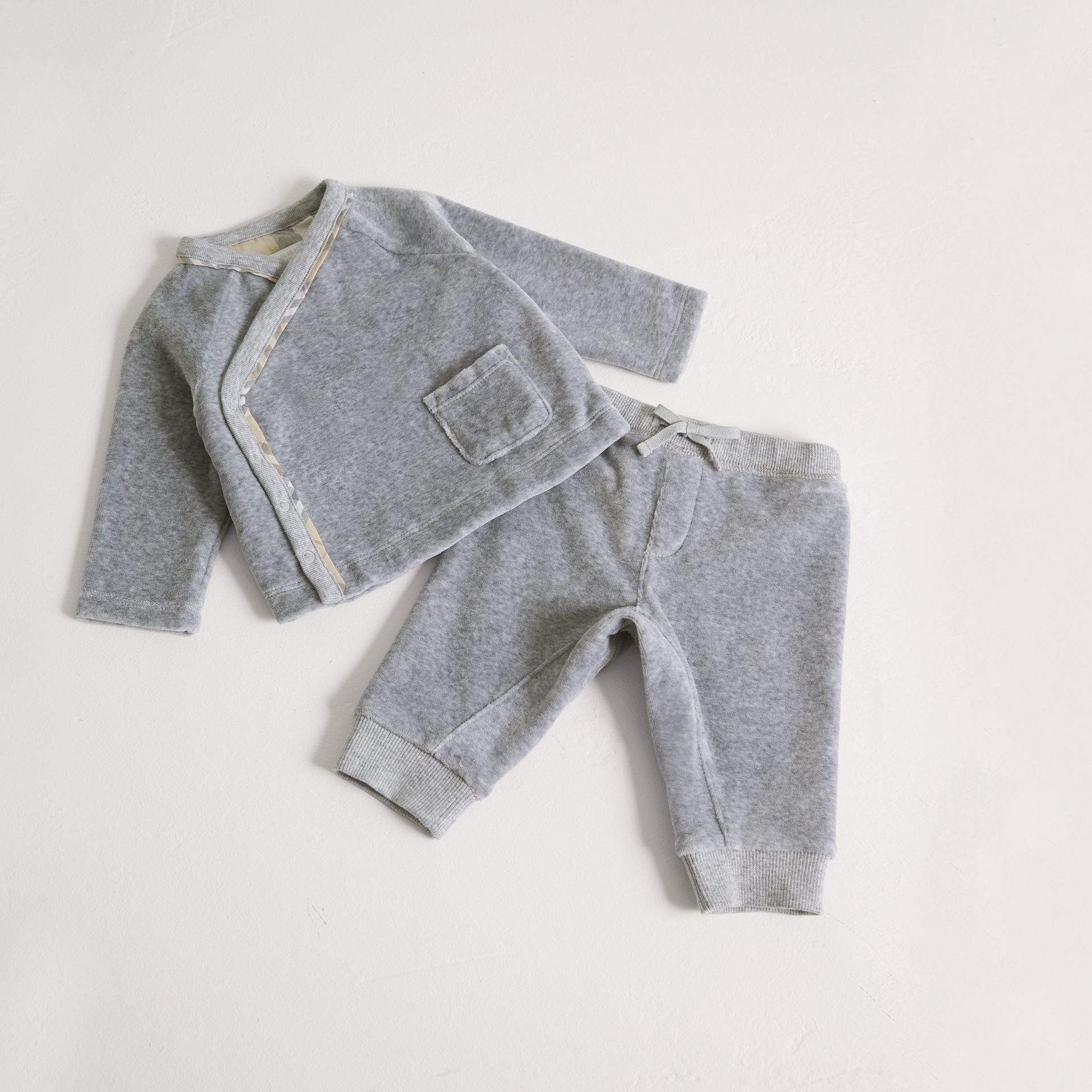 Stretch Jersey Two-piece Baby Gift Set in Grey Melange | Burberry - gallery image 0