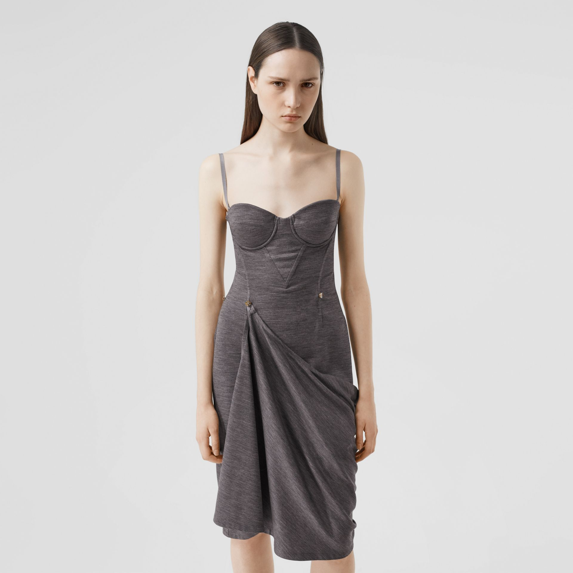 Asymmetric Technical Wool Corset Dress in Charcoal Grey | Burberry United Kingdom - gallery image 5