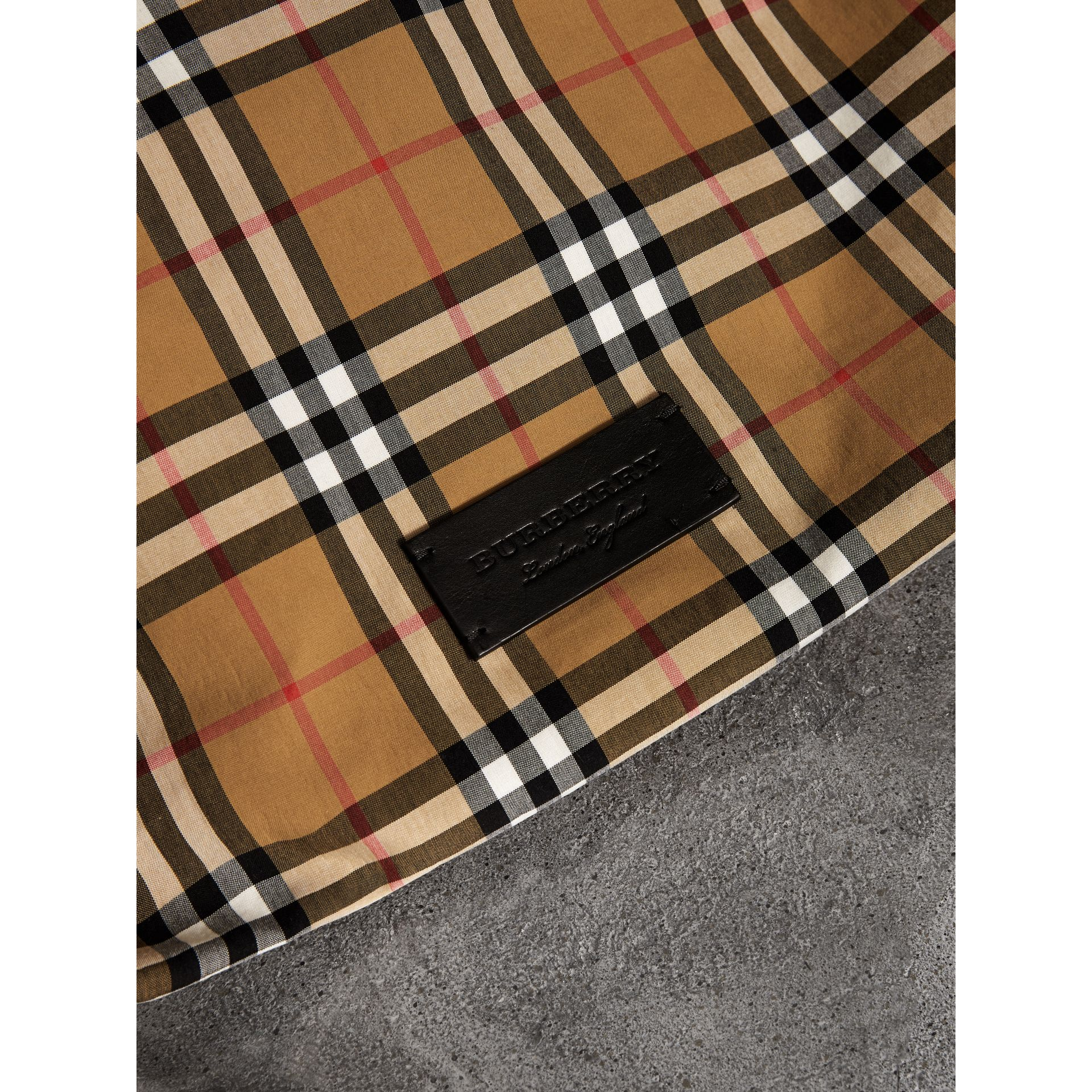 Medium Plastic Shopper with Vintage Check Pouch in Antique Yellow/black - Women | Burberry Australia - gallery image 1