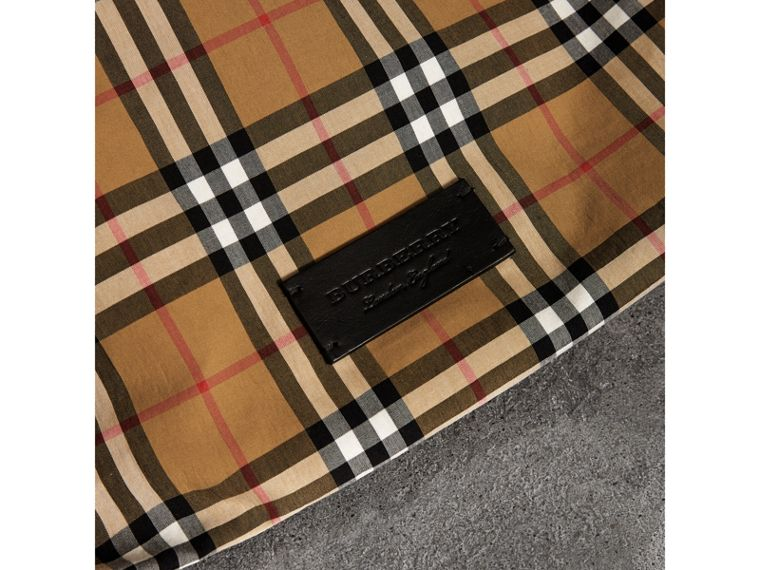 Medium Plastic Shopper with Vintage Check Pouch in Antique Yellow/black - Women | Burberry - cell image 1
