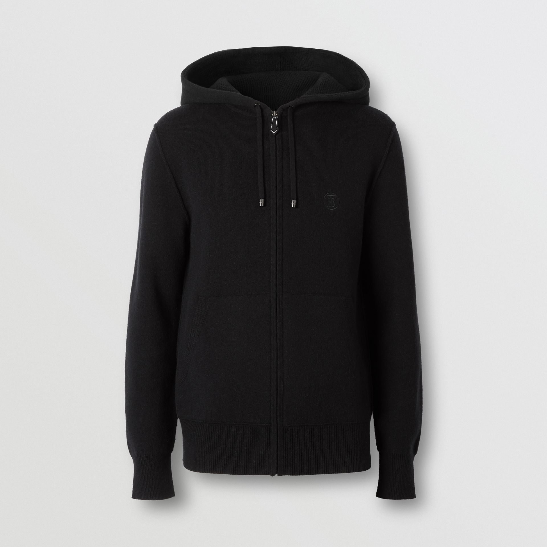 Monogram Motif Cashmere Blend Hooded Top in Black - Men | Burberry - gallery image 3